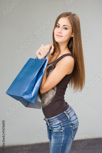 Cute attractive young shopper.