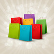 Background with colorful shopping bags. Discount concept. Vector