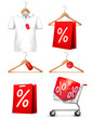 Clothes hanger with shirts with price tag. Concept of discount s