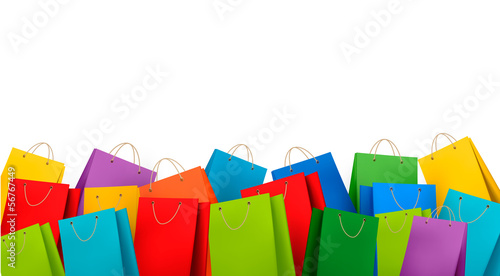 Background with colorful shopping bags. Discount concept. Vector - 56767449