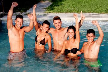 Group of friends at the pool