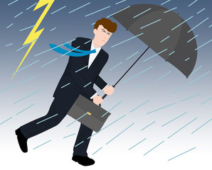 嵐の中のビジネスマン