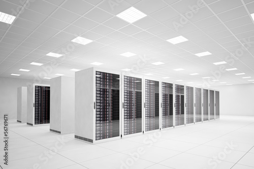 Leinwandbild Motiv Data Center with 4 rows of servers