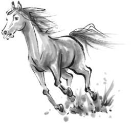 水墨画 走る馬