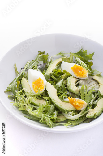 Avocado salad with boiled eggs