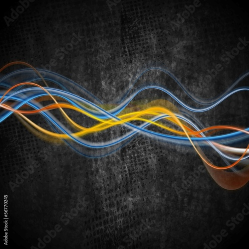 Colourful glowing waves vector grunge design