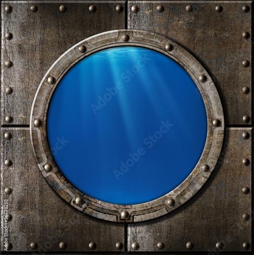 rusty metal porthole underwater - 56770288
