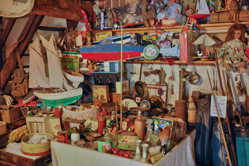 old objects in an attic in Normandie