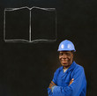 African black man worker with chalk open book on a background