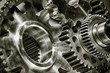 Leinwanddruck Bild - titanium and steel gears and  as aerospace and rocket parts