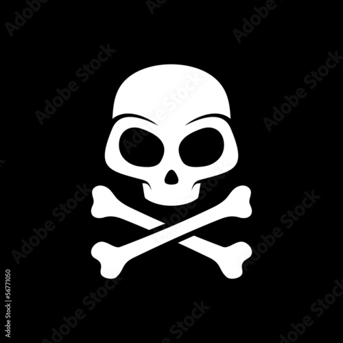 Vector skull on black background