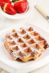 belgian waffles with fresh strawberries