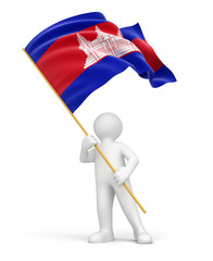 Man and Cambodia flag (clipping path included)