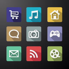 Vector  Web Icons Set in Flat Design with Long Shadows