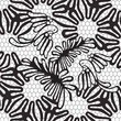 seamless black and white pattern with birds