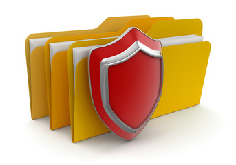 folders and Shield  (clipping path included)