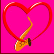 Red heart and Saxophone on the pink background