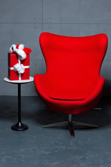 armchair with gift