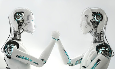 men robot and women robot together