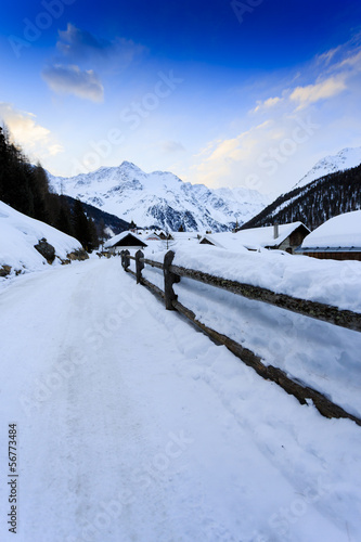 Winter vacations - winter scenery in the Alpine village