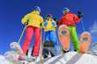 Ski, snow and fun  - family enjoying winter vacations