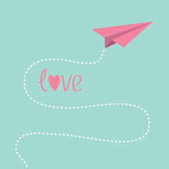 Origami pink paper plane. Dash line in the sky. Love card.