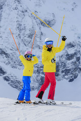 Skiing, skier, winter sport - portrait of happy  skiers
