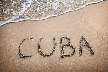 Cuba title on the sand