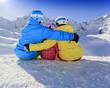 Ski, skiers, snow  - family enjoying ski holiday