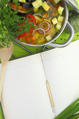 Blank recipe book with vegetable soup