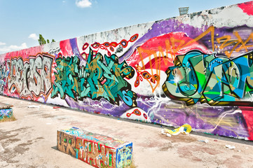 graffiti on Mauerpark wall in Berlin, Germany