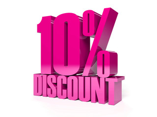 10 percent discount. Pink shiny text. Concept 3D illustration.