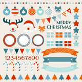 Retro Christmas Set Red/Orange/Blue