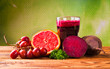 Beetroot juice,Healthy drink on wood
