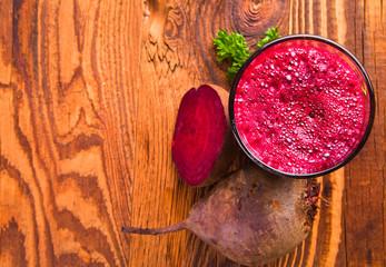 Beetroot juice,Healthy drink on wood