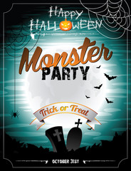 Vector Halloween illustration on a Monster Party theme.