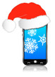 Christmas Phone with Santa Hat on with Snow Flakes