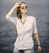 happy woman with sunglasses outdoors