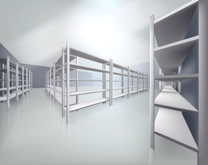 Empty shelves in store. Vector illustration.