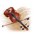 Classical violinon on white background with musical notes
