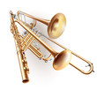 Set of classical trombone, flute and trumpet