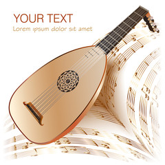 Late Baroque era lute with musical notes in retro style