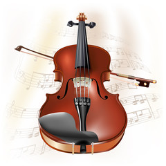 Classical violin on white background with musical notes