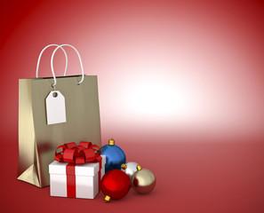 sacchetto -pacco regalo con palle decorative su sfondo rosso
