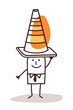 Man With a Construction Cone Sign on his Head
