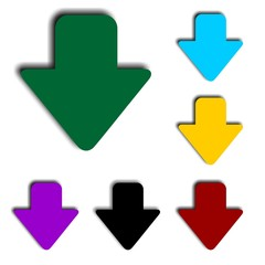 Colorful vector arrows down