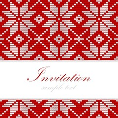 Knitted christmas card, nordic pattern, vector