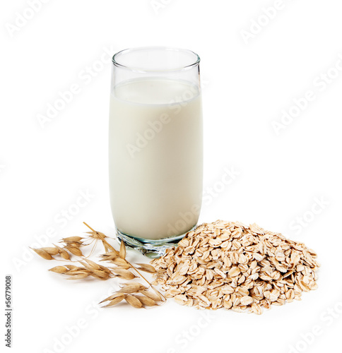 Milk and cereal isolated on whate background