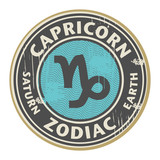 Stamp with the Zodiac Capricorn symbol horoscope, vector