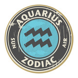 Stamp with the Zodiac Aquarius symbol horoscope, vector